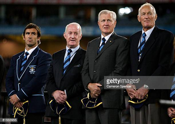 Andrew Johns John Raper Ron Coote and Norm Provan pose on stage after being inducted into the NSW Team of the Century before match one of the ARL...