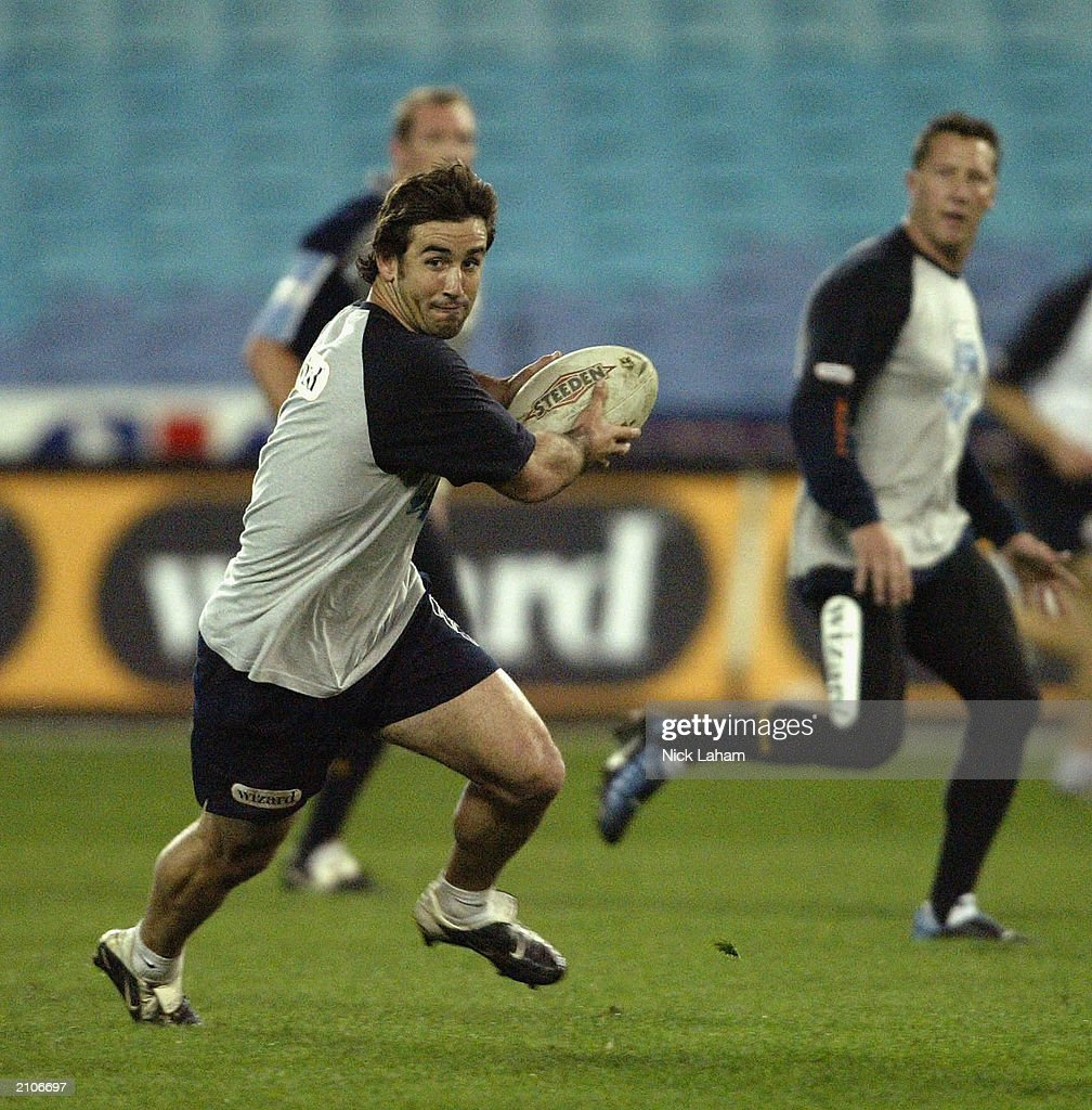 Andrew Johns looks to pass during New South Wales State of Origin Training June 24, 2003 at Telstra Stadium in Sydney, Australia.