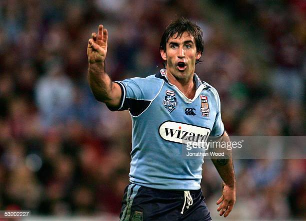 Andrew Johns of the Blues in action during game three of the State of Origin series between the Queensland Maroons and New South Wales Blues at...