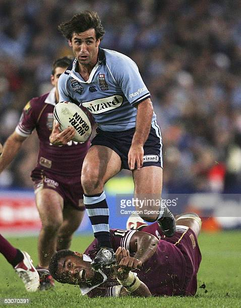 Andrew Johns of the Blues in action during match two of the ARL State of Origin series between the Queensland Maroons and the New South Wales Blues...