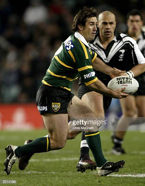 Andrew Johns of the Kangaroos looks to offload during the TransTasman Rugby League Test Match between the Australian Kangaroos and the New Zealand...