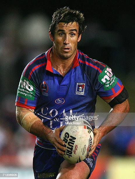 Andrew Johns of the Knights in action during the round 17 NRL match between the Manly Warringah Sea Eagles and the Newcastle Knights played at...