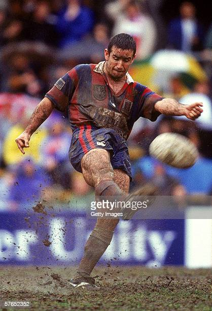 Andrew Johns of the Knights kicks the ball during a ARL match between the Balmain Tigers and the Newcastle Knights at Leichhardt Oval in Sydney,...