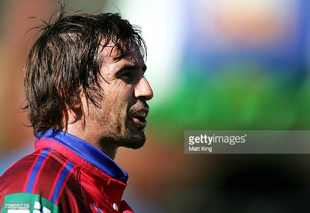 Andrew Johns of the Knights looks on during the round two NRL match between the Canberra Raiders and the Newcastle Knights at Canberra Stadium on...