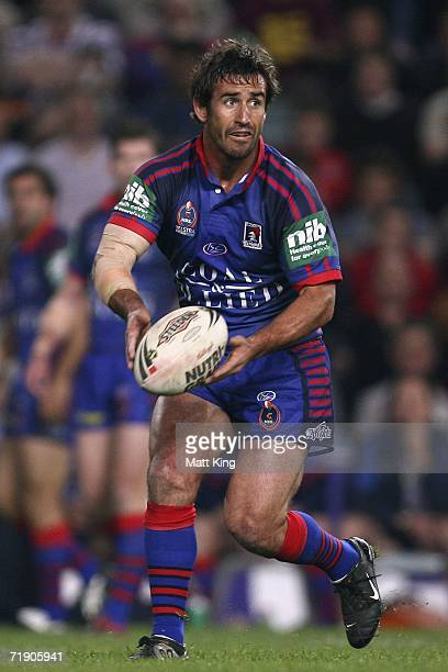Andrew Johns of the Knights passes the ball during the NRL Second Semifinal match between the Newcastle Knights and the Brisbane Broncos at Aussie...