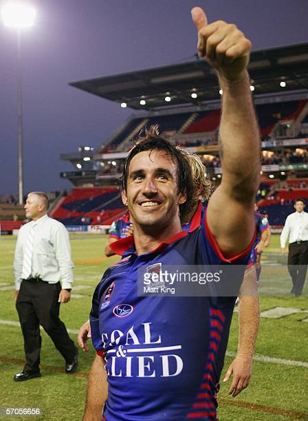 Andrew Johns of the Knights waves to the crowd after the round one NRL match between the Newcastle Knights and the Parramatta Eels at Energy...