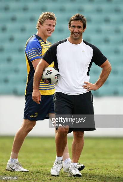 Andrew Johns shares a laugh as Brett Finch of the Eels looks on during a Parramatta Eels training session at Parramatta Stadium on December 4, 2007...