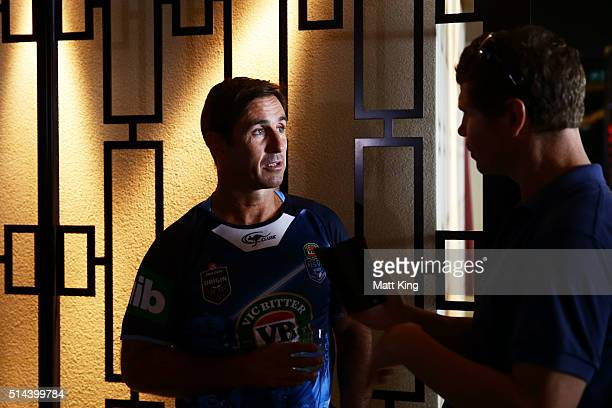 Andrew Johns speaks to the media during a jersey presentation to the winning New South Wales State of Origin captains at The Star on March 9 2016 in...