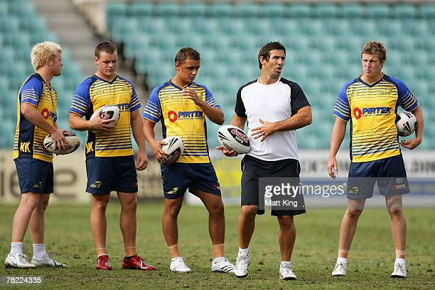 Andrew Johns talks to Eels players during a Parramatta Eels training session at Parramatta Stadium on December 4, 2007 in Sydney, Australia. Johns...