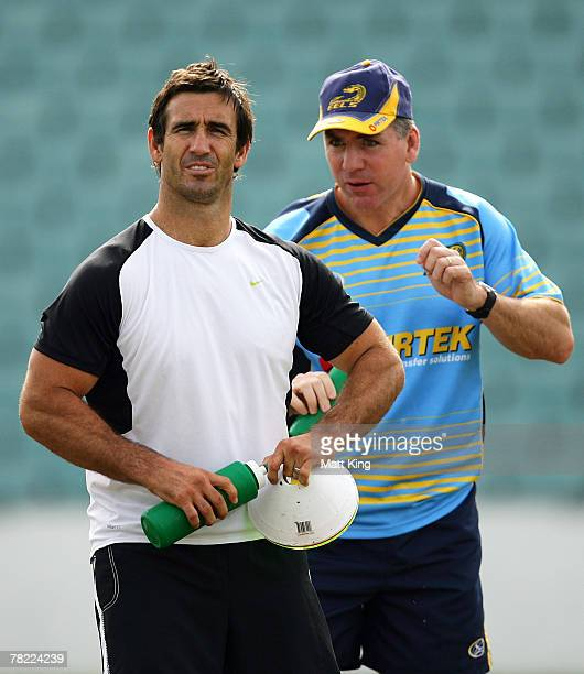 Andrew Johns talks with Eels coach Michael Hagan during a Parramatta Eels training session at Parramatta Stadium on December 4, 2007 in Sydney,...