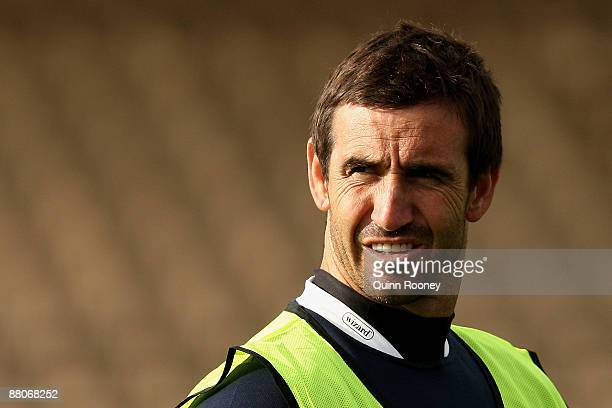 Andrew Johns the assistant coach of the Blues looks on during a New South Wales State of Origin training session at Olympic Park on May 30 2009 in...