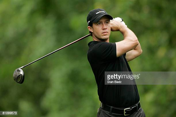 Andrew Johnson hits from the 14th tee box during the first round of the BMW Charity Pro-Am at Thornblade Club held on May 15, 2008 in Greer, South...