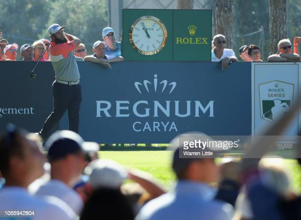 Andrew Johnson of England plays a tee shot on the 1st hole during Day One of the Turkish Airlines Open at the Regnum Carya Golf Spa Resort on...
