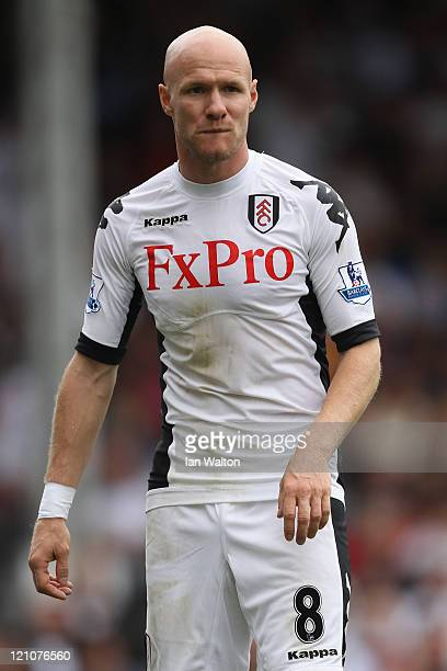 Andrew Johnson of Fulham looks on during the Barclays Premier League match between Fulham and Aston Villa at Craven Cottage on August 13 2011 in...