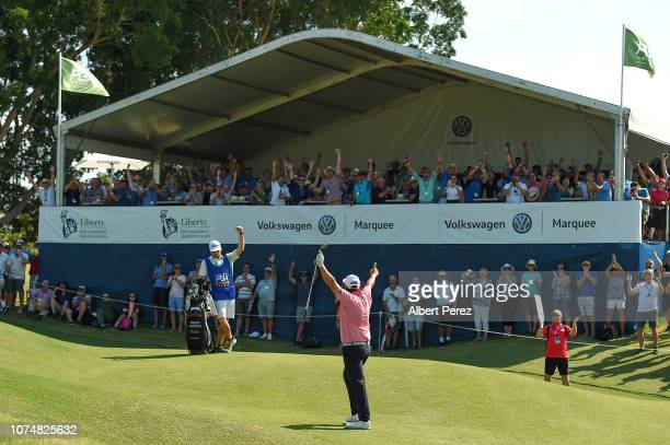 Andrew Johnston celebrates with fans during day two of the 2018 Australian PGA Championship at Royal Pines Resort on November 30 2018 in Gold Coast...
