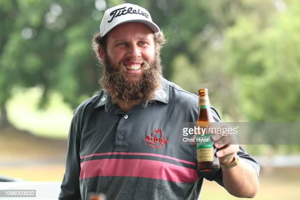 Andrew Johnston has a beer and meat pie during a media call ahead of the 2018 Australian PGA Championship at RACV Royal Pines Resort at Royal Pines...