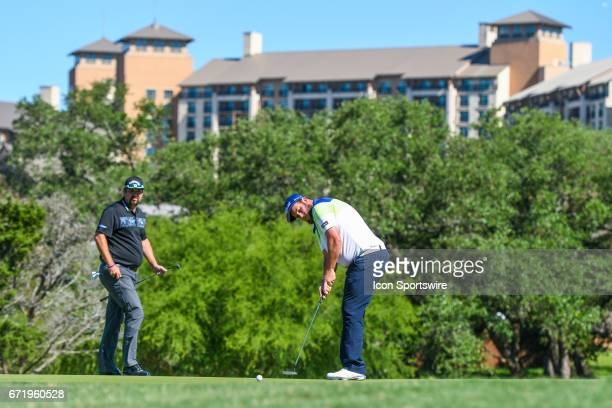 Andrew Johnston hits a putt on the 10th hole during the final round of the Valero Texas Open at the TPC San Antonio Oaks Course in San Antonio TX on...