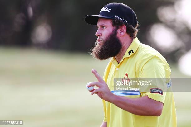 Andrew Johnston of England celebrates a birdie during Day one of the ISPS Handa Vic Open at 13th Beach Golf Club on February 07 2019 in Geelong...