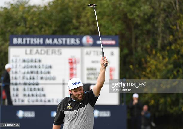 Andrew Johnston of England celebrates his birdie on the ninth hole during the second round of the British Masters at The Grove on October 14 2016 in...