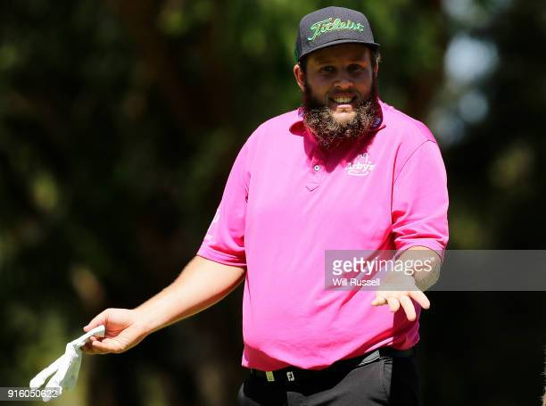 Andrew Johnston of England gesticulates on the 9th fairway during day two of the World Super 6 at Lake Karrinyup Country Club on February 9 2018 in...