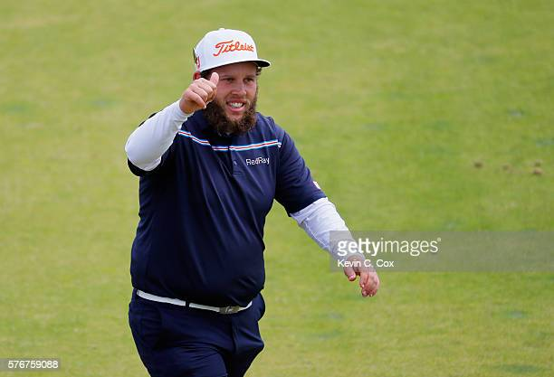 Andrew Johnston of England gives a thumbs up as he walks on the 5th hole during the final round on day four of the 145th Open Championship at Royal...