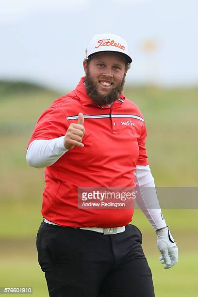 Andrew Johnston of England gives a thumbs up on the on the 18th hole during the third round on day three of the 145th Open Championship at Royal...