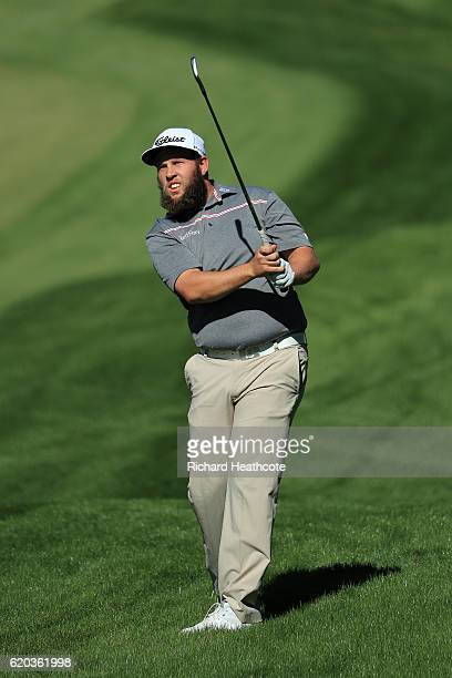 Andrew Johnston of England hits a shot during a practice round for the Turkish Airlines Open at the Regnum Carya Golf Spa Resort on November 2 2016...