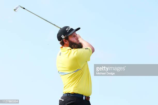 Andrew Johnston of England hits an approach shot during Day one of the ISPS Handa Vic Open at 13th Beach Golf Club on February 07 2019 in Geelong...