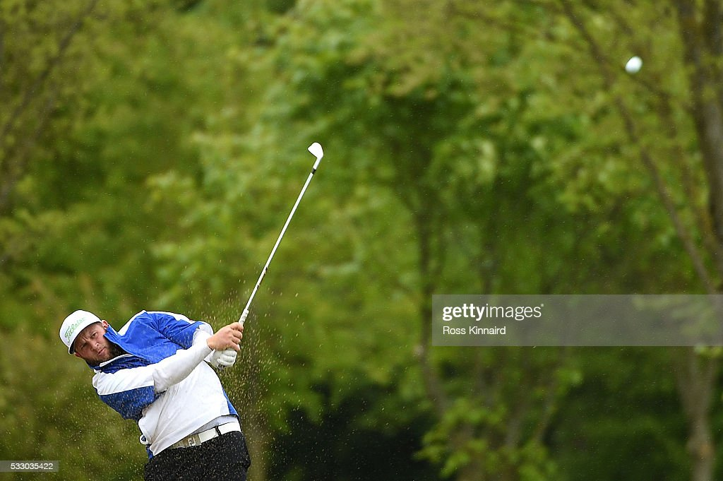 Andrew Johnston of England hits his 2nd shot on the 11th hole during the second round of the Dubai Duty Free Irish Open Hosted by the Rory Foundation at The K Club on May 20, 2016 in Straffan, Ireland.