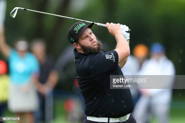 Andrew Johnston of England hits his second shot on the 14th hole during day one of the Andalucia Valderrama Masters at Real Club Valderrama on...