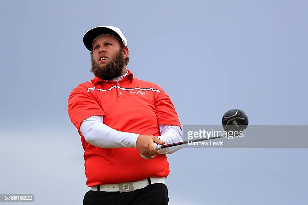 Andrew Johnston of England hits his tee shot on the 6th hole during the third round on day three of the 145th Open Championship at Royal Troon on...