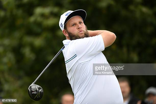 Andrew Johnston of England hits his tee shot on the third hole during the third round of the British Masters at The Grove on October 15 2016 in...