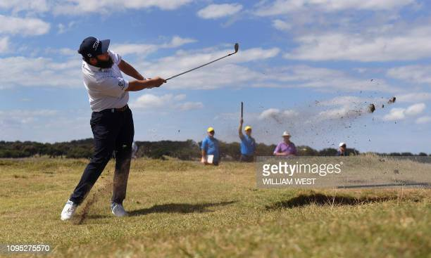 Andrew Johnston of England hits to the green during the second round of the Vic Open golf tournament at the 13th Beach Golf Links at Barwon Heads...