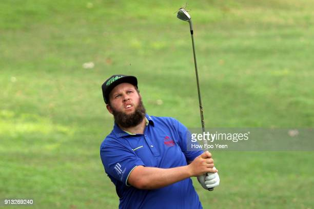 Andrew Johnston of England in action during day two of the 2018 Maybank Championship Malaysia at Saujana Golf and Country Club on February 2 2018 in...