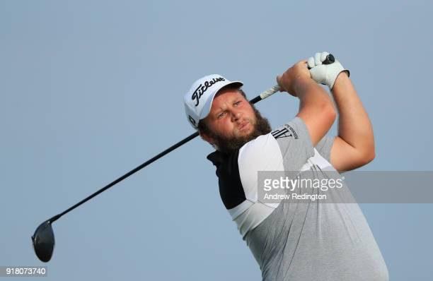 Andrew Johnston of England in action during the Pro Am prior to the start of the NBO Oman Open at Al Mouj Golf on February 14 2018 in Muscat Oman