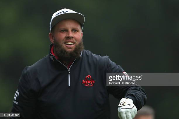 Andrew Johnston of England looks down the 3rd hole during the first round of the BMW PGA Championship at Wentworth on May 24 2018 in Virginia Water...