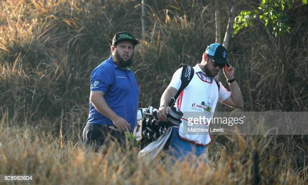Andrew Johnston of England looks on during day one of the Hero Indian Open at Dlf Golf and Country Club on March 8 2018 in New Delhi India