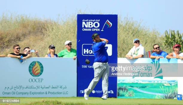 Andrew Johnston of England on the 7th tee during the third round of the NBO Oman Open at Al Mouj Golf on February 17 2018 in Muscat Oman