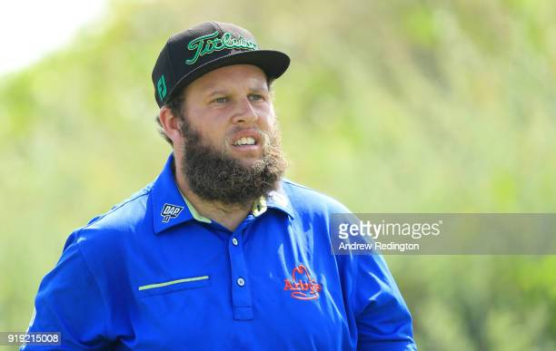 Andrew Johnston of England on the par four 1st hole during the third round of the NBO Oman Open at Al Mouj Golf on February 17 2018 in Muscat Oman