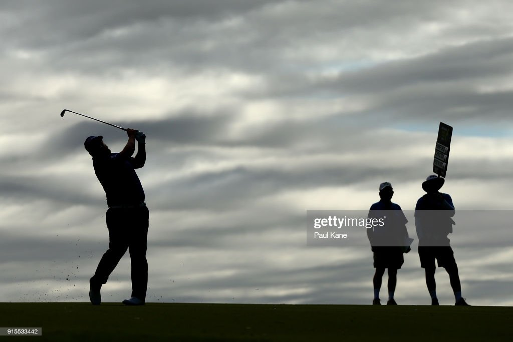 Andrew Johnston of England plays his approach shot on the 18th hole during day one of the World Super 6 at Lake Karrinyup Country Club on February 8, 2018 in Perth, Australia.