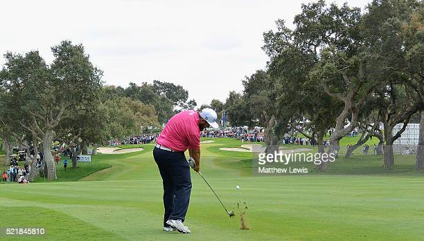 Andrew Johnston of England plays his second shot from the 18th fairway during the final round of the Open de Espana at Real Club Valderrama on April...