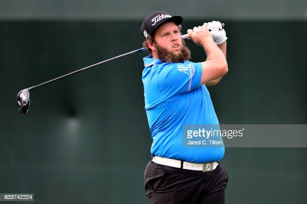 Andrew Johnston of England plays his tee shot on the 17th hole during the second round of the Waste Management Phoenix Open at TPC Scottsdale on...