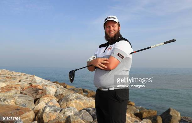 Andrew Johnston of England poses for a portrait during the Pro Am prior to the start of the NBO Oman Open at Al Mouj Golf on February 14 2018 in...