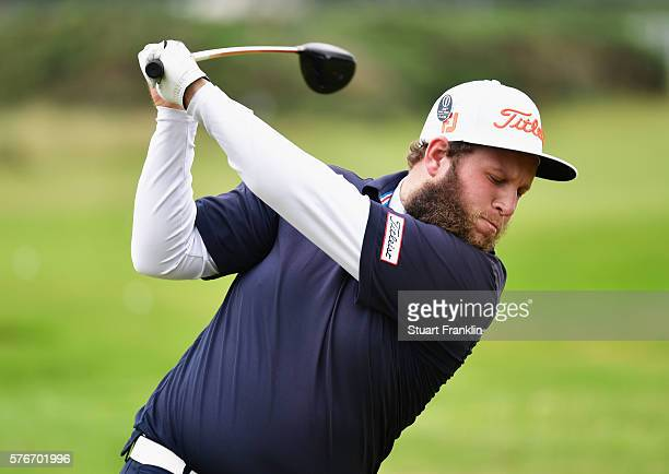 Andrew Johnston of England practices on the range during the final round on day four of the 145th Open Championship at Royal Troon on July 17 2016 in...