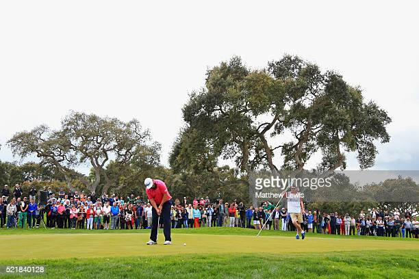 Andrew Johnston of England putts on the 18th green during the final round on day four of the Open de Espana at Real Club Valderrama on April 17 2016...