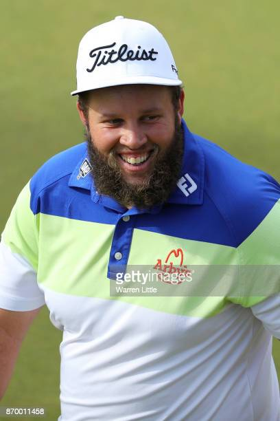 Andrew Johnston of England reacts on the 11th green during the third round of the Turkish Airlines Open at the Regnum Carya Golf Spa Resort on...