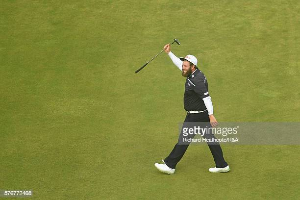 Andrew Johnston of England reacts on the 18th green during the final round on day four of the 145th Open Championship at Royal Troon on July 17 2016...