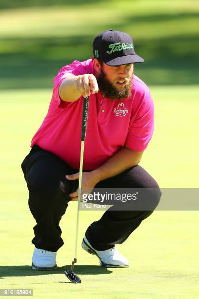 Andrew Johnston of England reads the green on 2nd hole during day two of the World Super 6 at Lake Karrinyup Country Club on February 9 2018 in Perth...