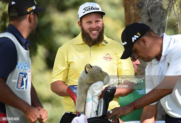 Andrew Johnston of England shares a laugh on the second hole tee box during the third round of the Albertsons Boise Open on September 17 2016 in...