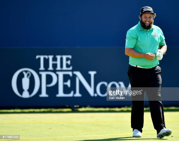Andrew Johnston of England smiles on the 1st hole during a practice round prior to the 146th Open Championship at Royal Birkdale on July 18 2017 in...
